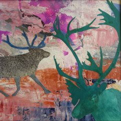 "Caribou Dreams I, mixed media on paper 8""x8"" (sold)"